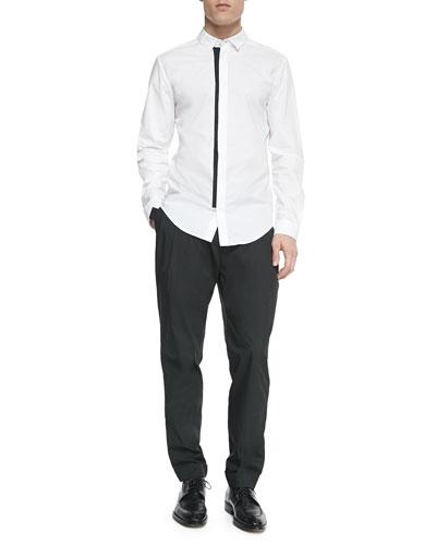 Contrast-Trim Button-Down Shirt & Lightweight Pleated Trouser