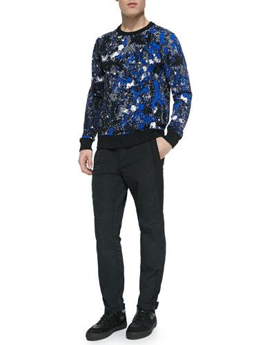 Tie-Dye Crewneck Sweatshirt & Side-Zip Track Pants