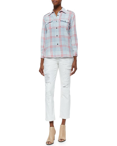 The Perfect Plaid Cotton Shirt & The High-Waist Distressed Straight Jeans