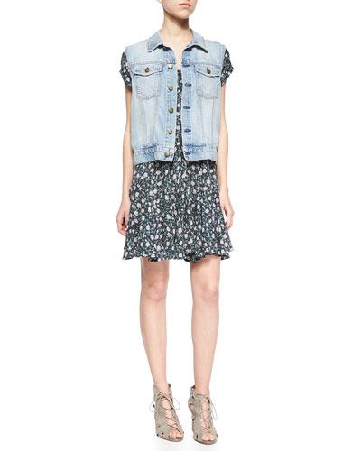 Rider Denim Vest & The Juliet Floral-Print Dress