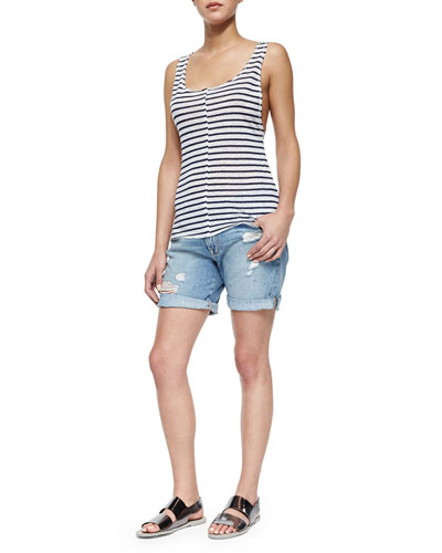 Le Muscle Tank with Stripes & Le Grand Garcon Distressed Cuffed Shorts