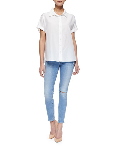 Le Classic Short-Sleeve Blouse & Le Skinny De Jeanne Cropped Jeans