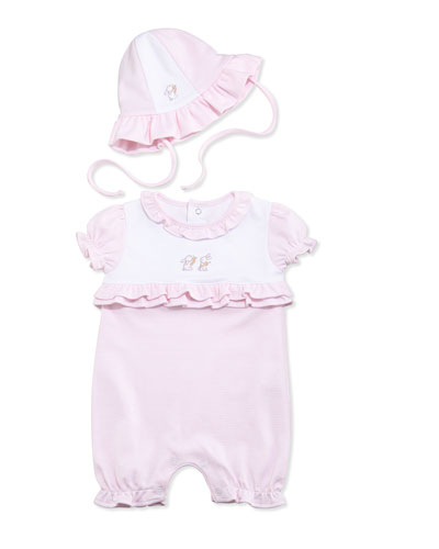Baby Cottontail Striped Shortall & Sun Hat, Pink
