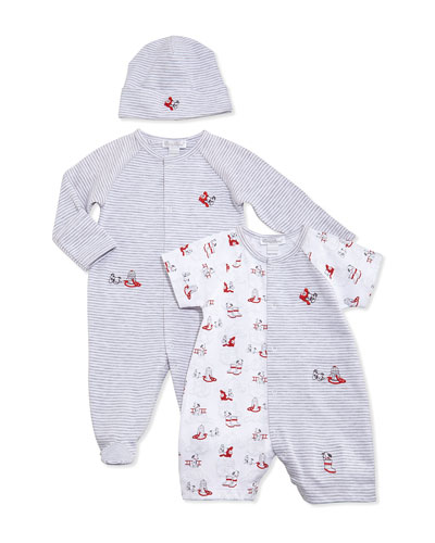 Sparky Striped Footie Pajamas, Baby Hat & Shortall, Gray