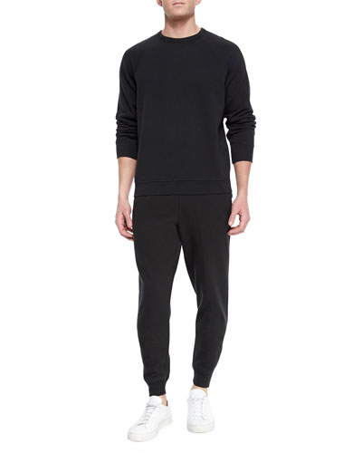Washed Cotton Crewneck Sweatshirt & Tapered Sweatpants
