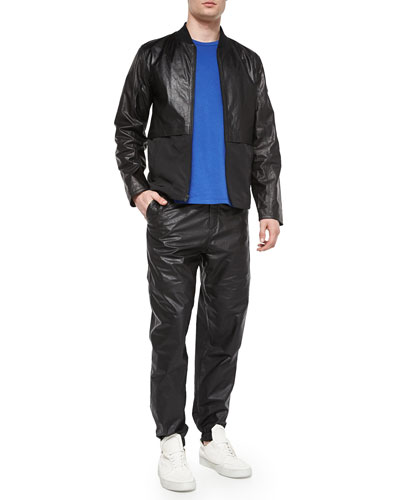 Leather/Nylon Mix Bomber Jacket, Short-Sleeve Crewneck Jersey Tee & Leather/Nylon Mix Track Pants