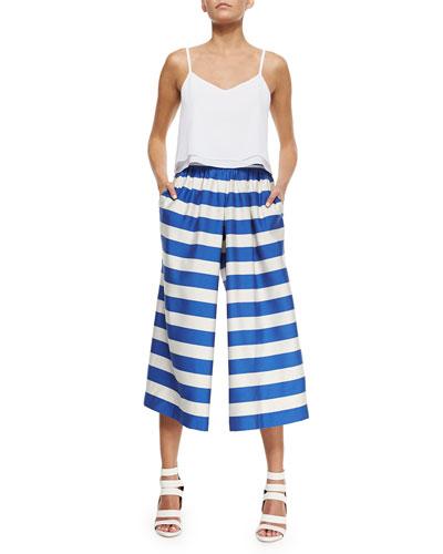 b7aa5a1ee0 Alice + Olivia Layered Flowy Silk Tank   High-Waist Striped Pleated Culottes