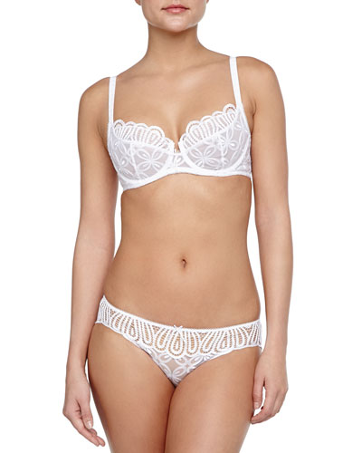 Melodie Full-Coverage Lace Bra & Bikini Briefs, White