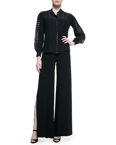 Grommet Studded Accordion-Sleeve Blouse & Wide-Leg Side-Slit Trouser, Black