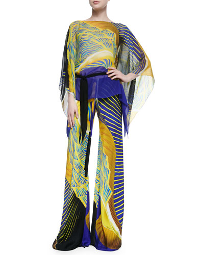 Classic Abstract-Print Short Caftan & Abstract-Print Tassel-Drawstring Palazzo Pants, Yellow/Blue