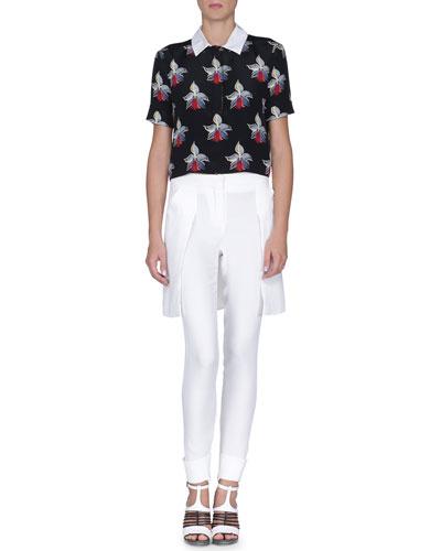 Orchid-Print Crepe de Chine Blouse & Overskirt Flat-Front Pants