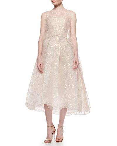 Iridescent Chantilly Lace Overlay Tunic & Strapless Iridescent Lace Tea-Length Dress, Blush