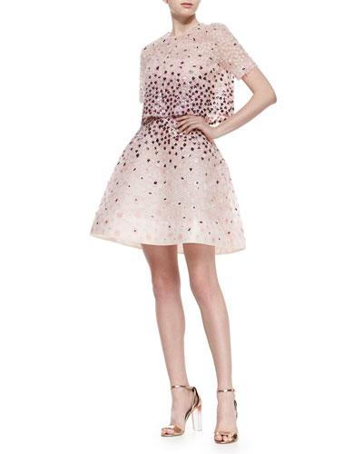 Sequined Floral-Embroidered Split-Back Jacket & Strapless Sequined Floral Structured Dress, Petal Multi