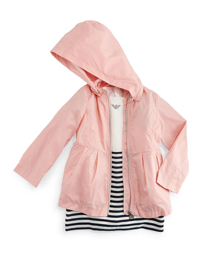 Tulip-Sleeve Striped Dress & Pleated Hooded Jacket