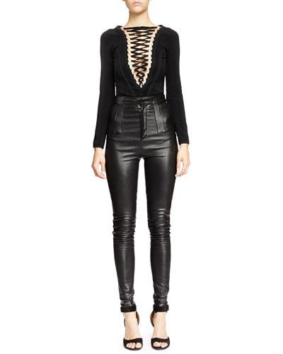 V-Seamed Lace-Up Bodysuit & High-Waist Skinny Leather Trouser, Black