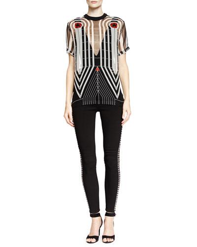 Line Target-Print Organza Tee & Grommet Side-Striped High-Waist Trouser