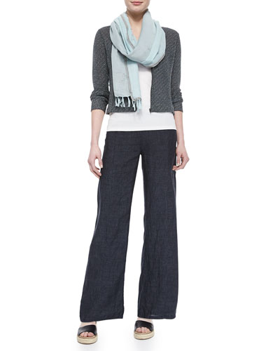 Eileen Fisher Cropped Jacquard Zip-Front Jacket, Long Slim