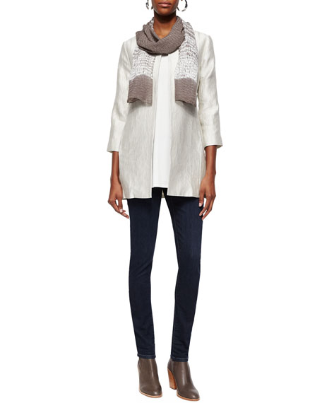 Eileen Fisher Long Silk Jersey Tunic, Soft White