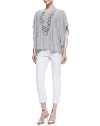 Short-Sleeve Cashmere Poncho, Scoop-Neck Jersey Cami, Organic Linen Knotted Crochet Necklace & Stretch Boyfriend Jeans
