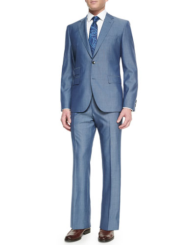 Solid Two-Button Suit, Dress Shirt & Tie