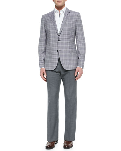 Plaid Two-Button Jacket, Contrast Oxford Dress Shirt & Flat-Front Wool Trousers