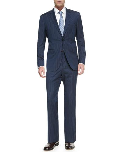 Two-Piece Pinstripe Suit, Dress Shirt & Tie