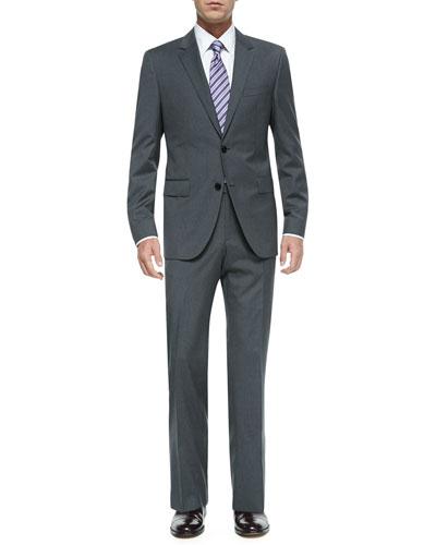 Mini-Pinstripe Suit, Dress Shirt & Tie