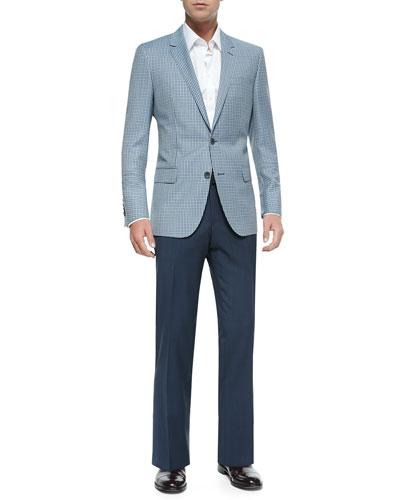 Mini-Check Two-Button Wool Sport Jacket, Contrast Oxford Dress Shirt & Tonal Check Dress Pants