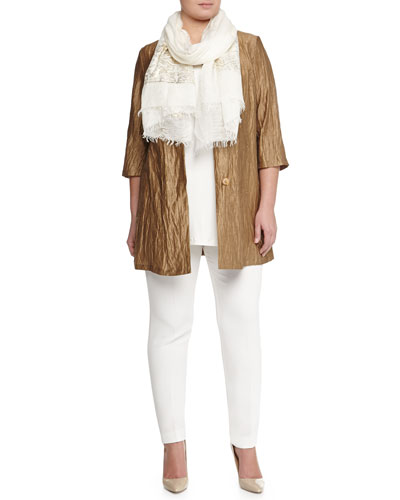 Fervore Crinkled Jacket, Sleeveless Jersey Top, Scarf with Golden Print & Ripresa Slim Pant, Women's