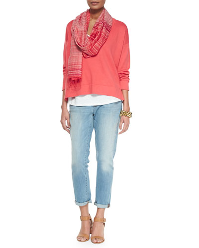 V-Neck Box Top, Linen Jersey Long Tank, Striped Gauze Scarf & Stretch Boyfriend Jeans, Petite