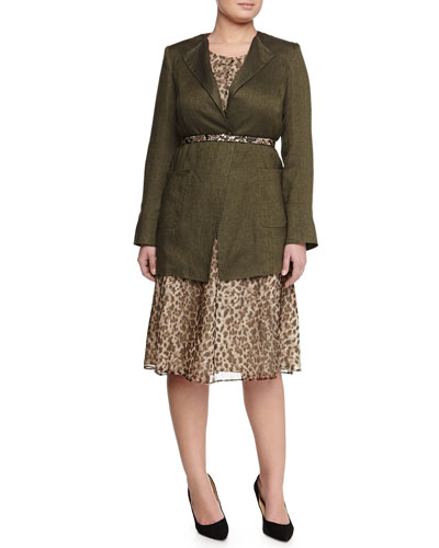 Long Linen Jacket, Animal-Print Dress W/ Attachable Sleeves & Lauro Belt W/ Chain Detail, Women's
