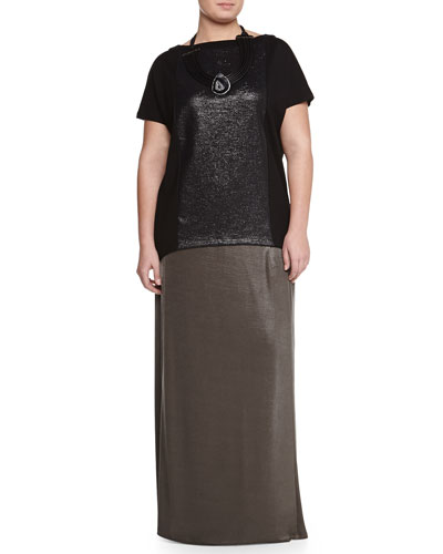 Short-Sleeve Volume Tee W/ Laminated Inset, Lumia Agate Necklace & Metallic Jersey Long Skirt, Women's