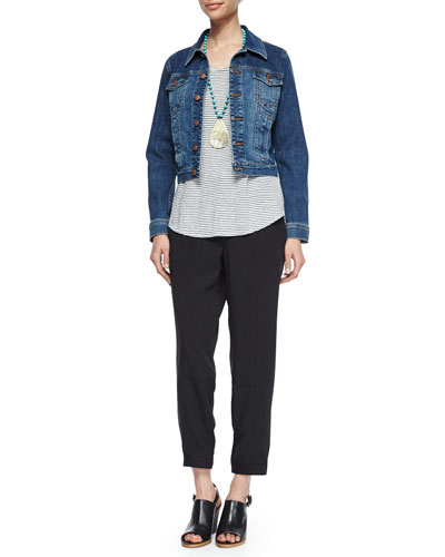 Denim Cropped Jacket, Organic Linen Striped Tee & Twill Button-Cuff Ankle Pants, Women's