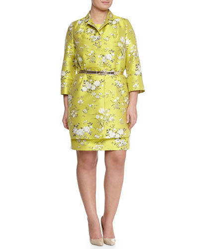 Nettuno Floral Long Coat Topper, Jacquard Sheath Dress & Lampara Gold Leather Belt