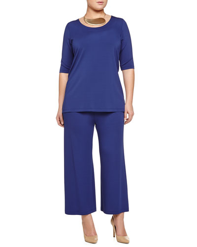 Ventoso Half-Sleeve Tunic, Largo Drama Necklace & Opus Jersey Ankle Pants, Women's