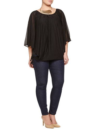 Zarevic Pleated Top, Largo Drama Necklace & Ignoto Stretch Denim Leggings, Women's