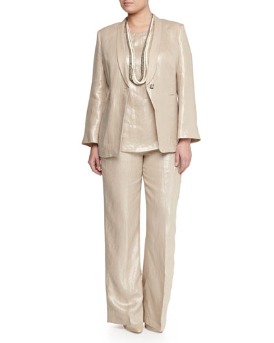 Corinne Shimmer One-Button Blazer, Jersey Tee, Straight-Leg Pants & Lato Natural Element Necklace, Women's