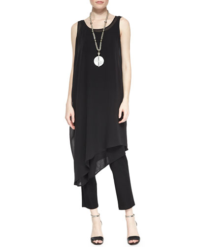 Eileen Fisher Sleeveless Asymmetric Knee-Length Dress, Silk