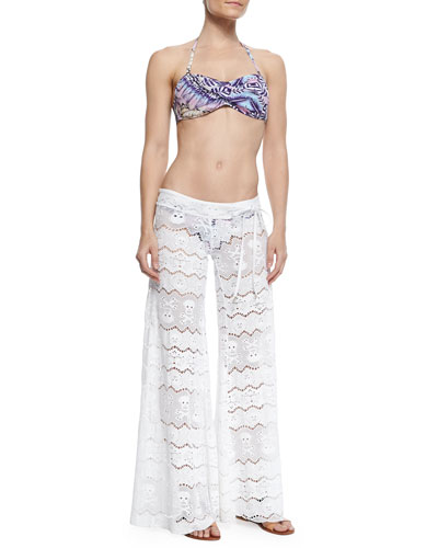 Femme Printed Bandeau Swim Top, Bottom & Wide-Leg Lace Coverup Pants