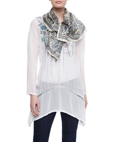 Rose Embroidered Georgette Tunic & Dragon Patch Silk Scarf, Women's