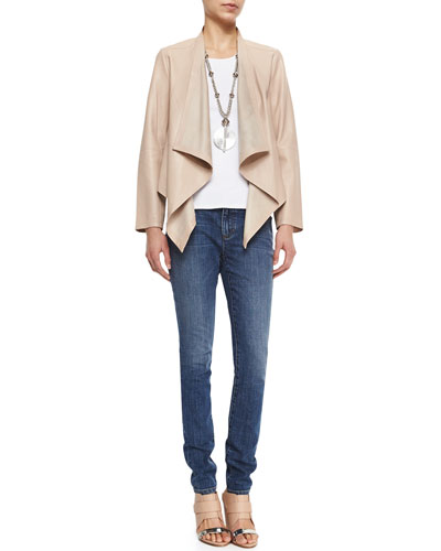 Draped-Front Leather Jacket, Halter Ribbed Yoga Cami & Organic Stretch Skinny Jeans
