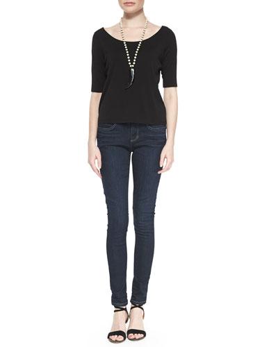Half-Sleeve Silk Jersey Tee & Organic Soft Stretch Skinny Jeans