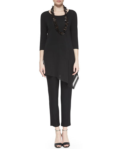 3/4-Sleeve Silk Jersey Asymmetric Top & Washable Stretch-Crepe Ankle Pants