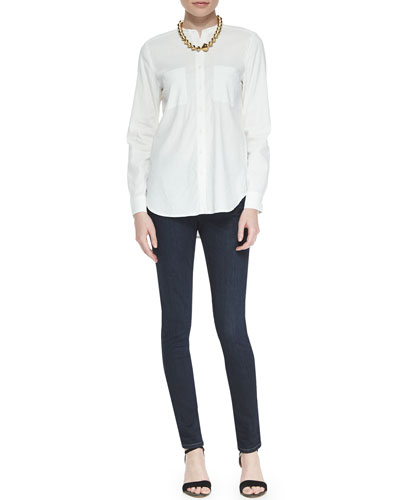 Mandarin-Collar Button-Front Shirt & Organic Soft Stretch Skinny Jeans