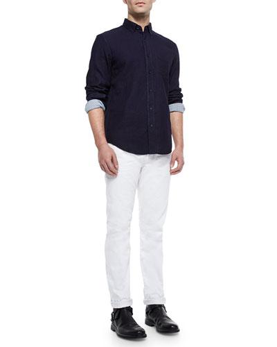 Yokohama Contrast-Cuff Sport Shirt & White Selvedge Denim Jeans