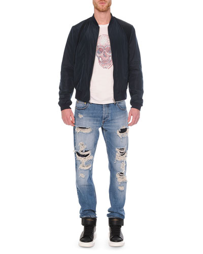 Harness Zip Bomber Jacket, Embossed Skull Graphic T-Shirt & Destroyed Denim Jeans