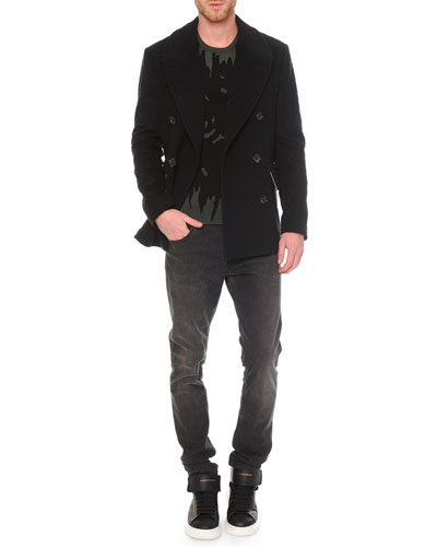 Leopard Jacquard Wool Peacoat, Printed Crew Neck Sweater & Faded-Wash Stretch Denim Jeans