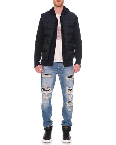 Tonal Skull-Print Jacquard Vest, Embossed Skull Graphic T-Shirt & Destroyed Denim Jeans