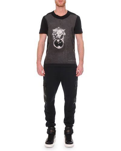 Crewneck Graphic Print T-Shirt & Python-Print Cotton Cargo Sweatpants