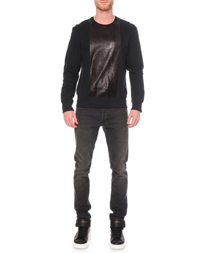 Embossed Python-Print Sweatshirt & Faded-Wash Stretch Denim Jeans